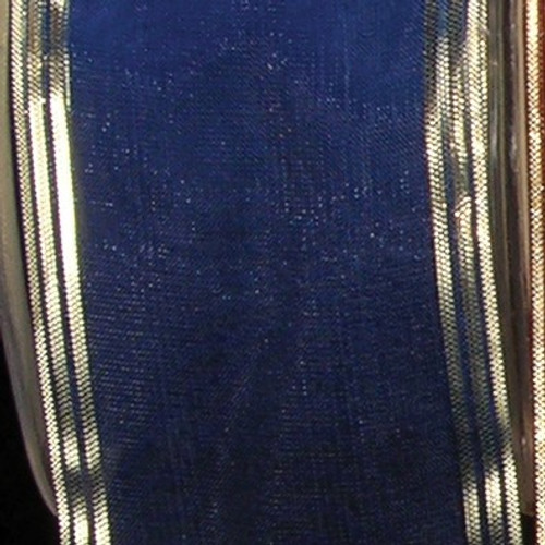 "Royal Blue and Gold Edge Craft Ribbon 2"" x 33 Yards - IMAGE 1"