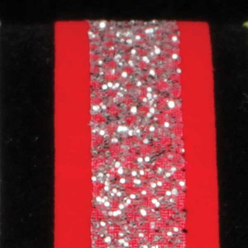 """Red and Silver Glitter Wired Craft Ribbon 0.5"""" x 60 Yards - IMAGE 1"""
