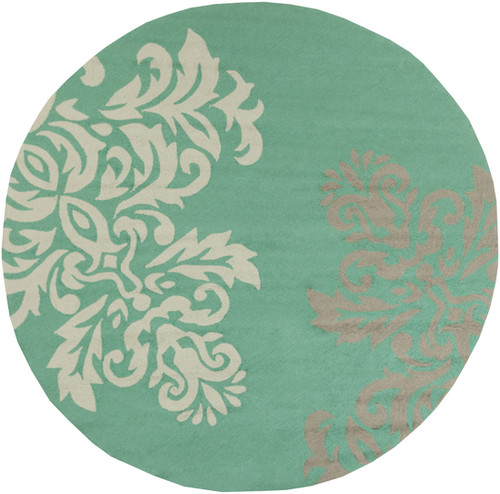 8' Mint Green and Gray Hand Hooked Round Outdoor Area Throw Rug - IMAGE 1