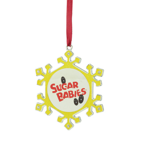 """3.5"""" Yellow and Red Snowflake Sugar Babies Candy Logo Christmas Ornament - IMAGE 1"""