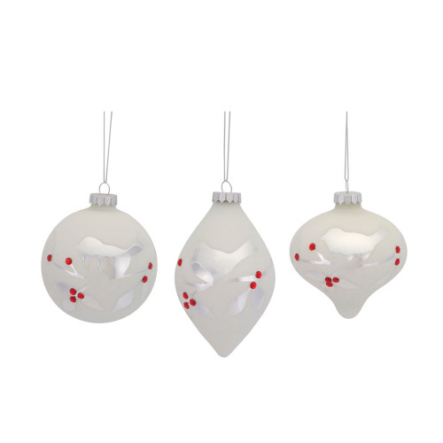 """4"""" Country Cabin Etched Bird with Jewel Accents Decorative Glass Onion Christmas Ornament - IMAGE 1"""