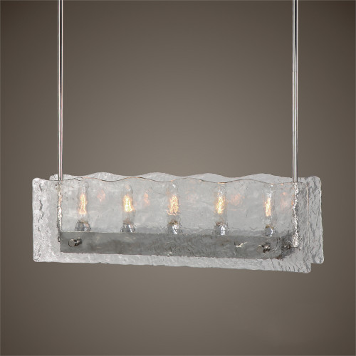 """59"""" Brushed Steel and Textured Glass 5-Light Kitchen Island Hanging Chandelier - IMAGE 1"""