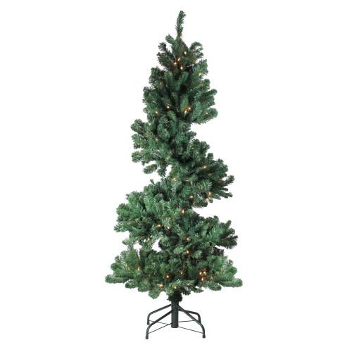 5.5' Pre-Lit Slim Spiral Pine Artificial Christmas Tree - Clear Dura-Lit Lights - IMAGE 1