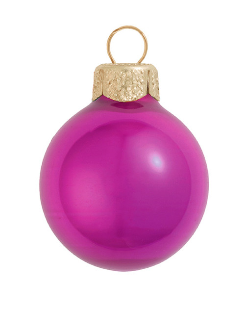 "12ct Pearl Raspberry Pink Glass Christmas Ball Ornaments 2.75"" (70mm) - IMAGE 1"