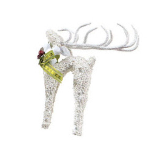 6 Snow Drift Noble White Glass Beaded Reindeer Christmas Ornament - IMAGE 1