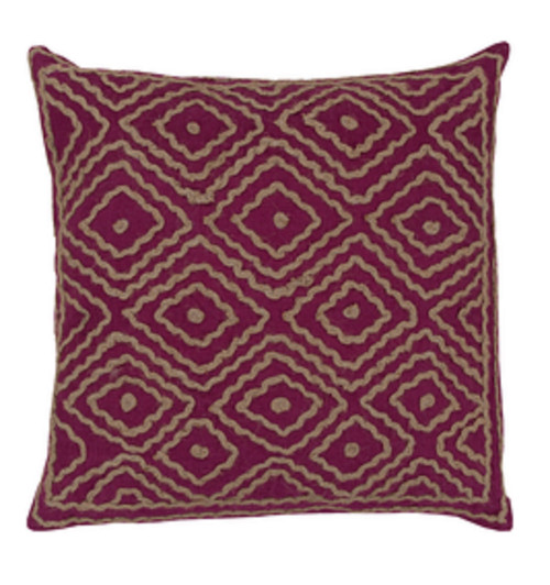 """18"""" Purple and Beige Contemporary Square Throw Pillow - IMAGE 1"""