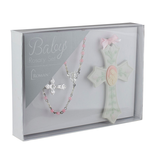 Religious Baby Girl Beaded Rosary and Porcelain Cross 2-Piece Set - IMAGE 1