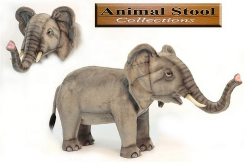 """41.25"""" Gray and Beige Hand Crafted Realistic Stuffed Elephant Stool - IMAGE 1"""