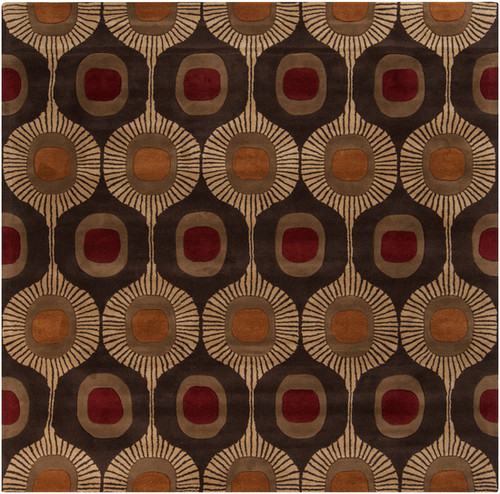 9.75' x 9.75' Brown and Beige Hand Tufted Square Wool Area Throw Rug - IMAGE 1
