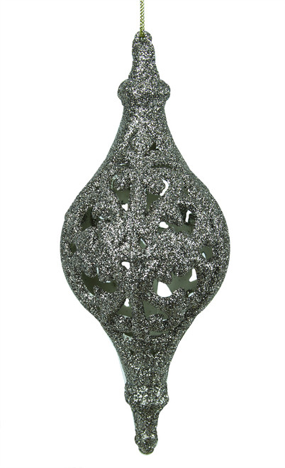"""6.5"""" Silver Glitter Drenched Cut-Out Finial Christmas Ornament - IMAGE 1"""