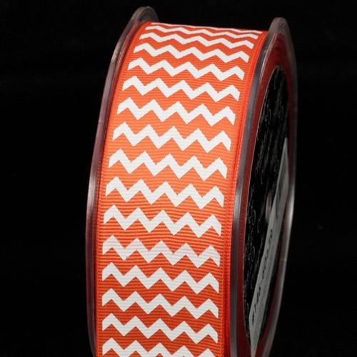 "Orange and White Chevron Grosgrain Craft Ribbon 1.5"" x 120 Yards - IMAGE 1"