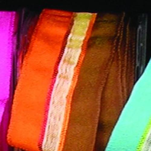 "Sheer Brown and Orange Striped Wired Craft Ribbon 0.75"" x 108 Yards - IMAGE 1"