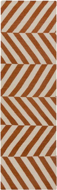 2.5' x 8' Herringbone Orange and Gray Hand Woven Wool Area Throw Rug Runner - IMAGE 1