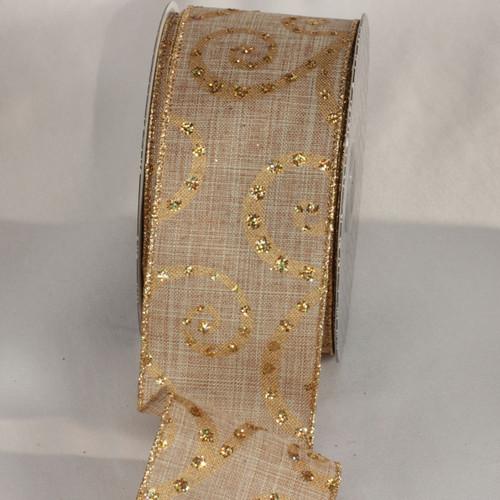 "Gold Glittered Swirl Motif Wired Craft Ribbon 2.5"" x 20 Yards - IMAGE 1"