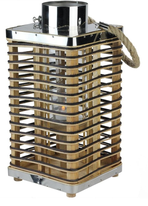 "15.5"" Rustic Chic Rectangular Rattan Candle Holder Lantern with Jute Handle - IMAGE 1"