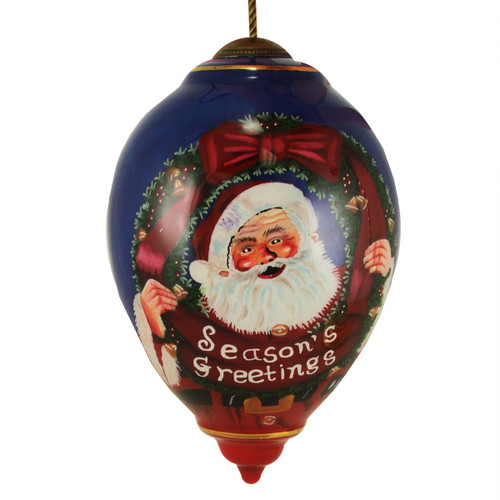 "7"" Blue and Red ""Season's Greetings"" Hand-Painted Blown Glass Christmas Finial Ornament - IMAGE 1"