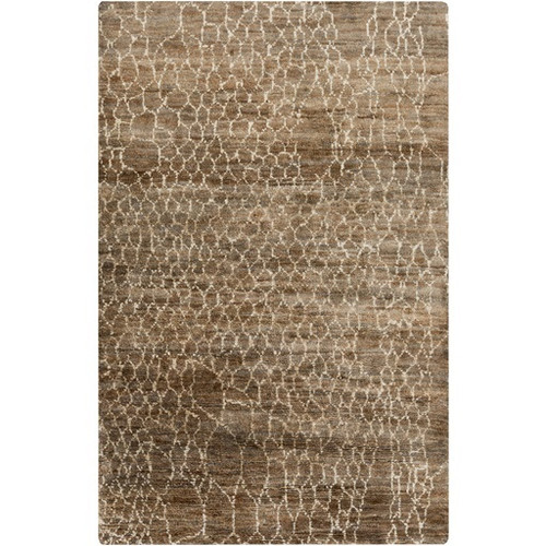 3.25' x 5.25' Brown and White Torn Mesh Hand Knotted Area Throw Rug - IMAGE 1