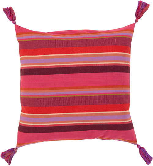 "22"" Orchid Pink, Purple and Fiery Red Striped Decorative Throw Pillow - Polyester Filler - IMAGE 1"