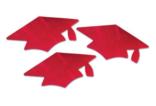 "Club Pack of 18 Red Metallic Graduation Cap Grad Party Cutout Decors 5.5"" - IMAGE 1"
