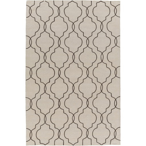 3.5' x 5.5' Quatrefoil Brown and Gray Hand Tufted Rectangular Wool Area Throw Rug - IMAGE 1