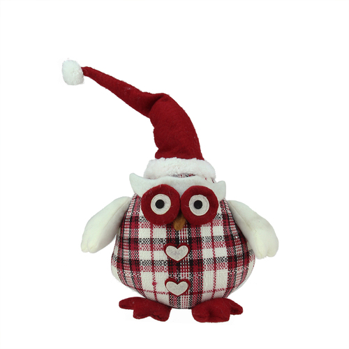 """12"""" Chubby Red and White Plaid Owl with Santa Hat and Heart Buttons Table Top Christmas Figure - IMAGE 1"""