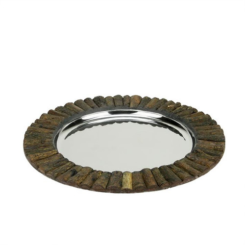"""14"""" Handcrafted Decorative Round Rustic Charger Serving Tray with Wood Accents - IMAGE 1"""