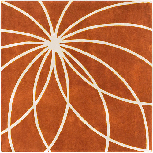 9.75' x 9.75' Contemporary Orange and White Hand Tufted Square Wool Area Throw Rug - IMAGE 1