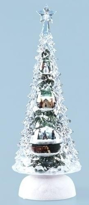 "11.5"" Pre-Lit Clear and White Icy LED Lighted Rotating Musical Christmas Tree Tabletop Decoration - IMAGE 1"