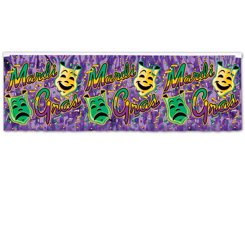Club Pack of 12 Purple and Green Mardi Gras Fringe Banner Hanging Party Decorations 4' - IMAGE 1