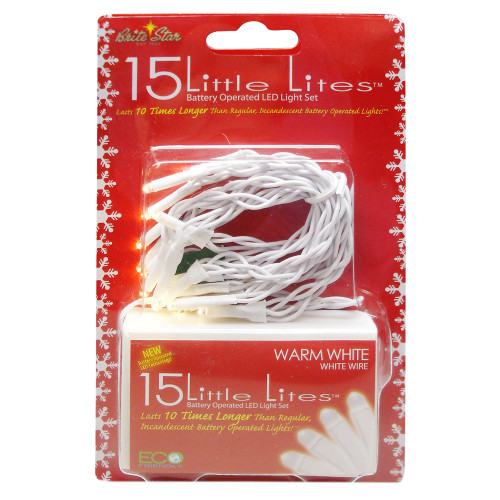 15 Battery Operated White LED Christmas Lights - 5 ft White Wire - IMAGE 1