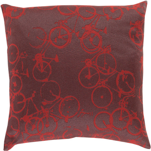"""22"""" Gray and Red Crazed Cycles Printed Square Throw Pillow - Down Filler - IMAGE 1"""