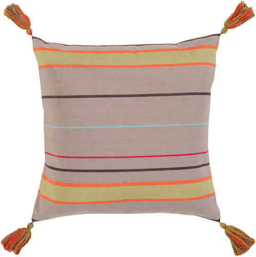 """18"""" Red and Orange Contemporary Striped Square Throw Pillow - Down Filler - IMAGE 1"""