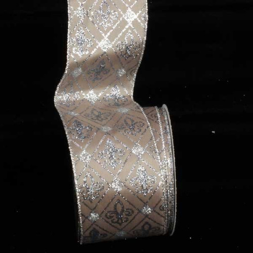 """Brown and Silver Fleur De Lis Diamond Printed Wired Craft Ribbon 3"""" x 20 Yards - IMAGE 1"""