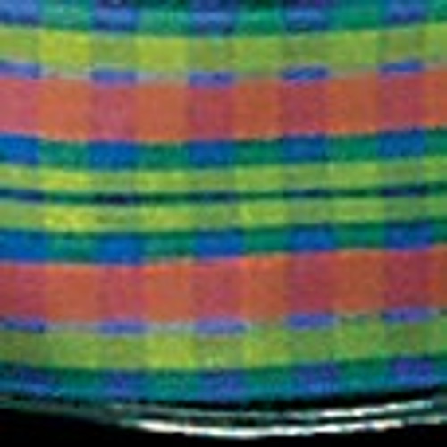 """Green and Blue Checkered Wired Edge Craft Ribbon 1.5"""" x 27 Yards - IMAGE 1"""