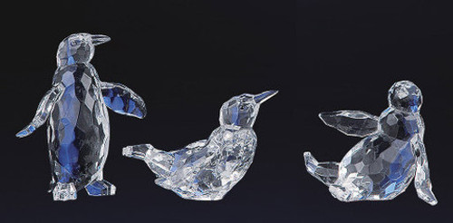 """Club Pack of 12 Clear Icy Crystal Decorative Christmas Penguin Figurines 4"""" - IMAGE 1"""