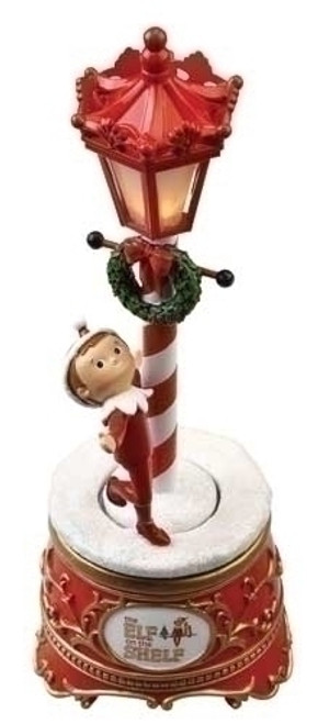 "10"" Red and White The Elf on the Shelf Musical Lamp Post Christmas Tabletop Decor - IMAGE 1"