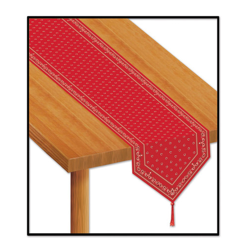 Club Pack of 12 Red and gold Printed Bandana Party Table Runners 11' - IMAGE 1