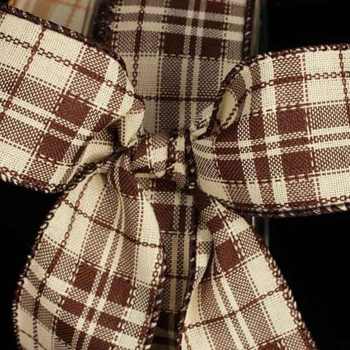 """Chocolate Brown and Ivory Plaid Wired Craft Ribbon 1.5"""" x 40 Yards - IMAGE 1"""
