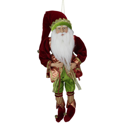 """18"""" Red and Green Poseable Whimsical Elf Hanging Christmas Ornament - IMAGE 1"""