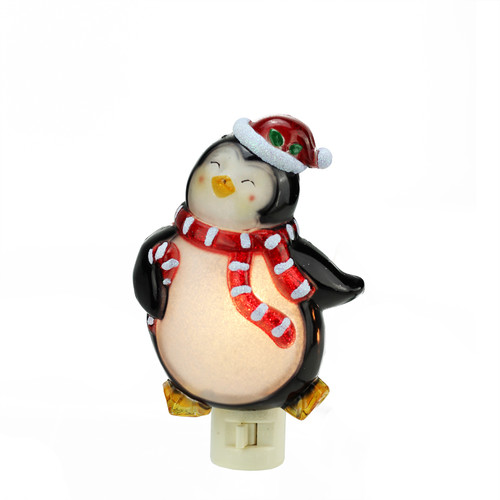 """6"""" Black and Red Beaded Penguin with Santa Hat Christmas Night Light - IMAGE 1"""