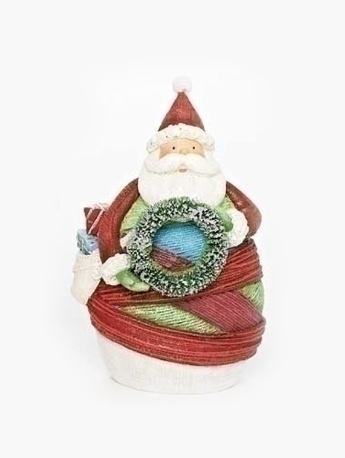 "6.5"" Red and White Striped Yarn Wrapped Santa Claus with Wreath Christmas Figurine - IMAGE 1"