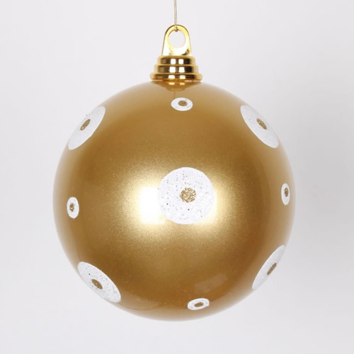 "Gold and White Shiny Shatterproof Christmas Ball Ornament 6"" (150mm) - IMAGE 1"