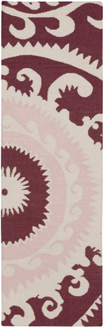 2.5' x 8' Burgundy Red and Pink Hand Woven Rectangular Wool Area Throw Rug Runner - IMAGE 1