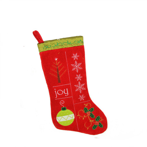 """19"""" Red and Green Embroidered Cuffless Christmas Stocking - IMAGE 1"""