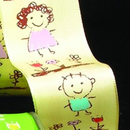 "Yellow and Pink Taffeta Wired Craft Ribbon 1.5"" x 27 Yards - IMAGE 1"