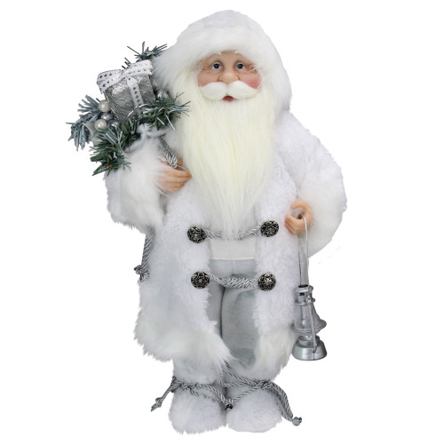 """16"""" White Frost Standing Santa Claus Christmas Figurine with Lantern - IMAGE 1"""