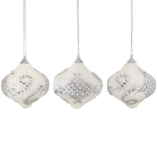 """3ct White and Silver Shatterproof Glitter Christmas Onion Ornaments 3"""" - IMAGE 1"""