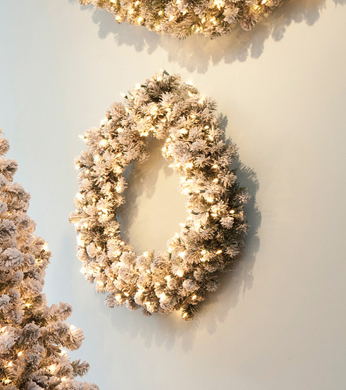 Pre-Lit Snowy Pine Flocked Artificial Christmas Wreath - 30-Inch, Clear Lights - IMAGE 1