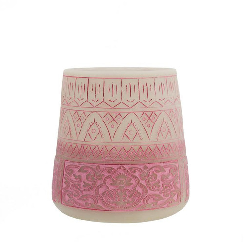 "5.5"" Petit Bazaar Etched Moroccan Pink Decorative Pillar Candle Holder - IMAGE 1"