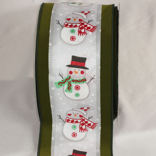 """Green and White Funny Christmas Snowmen Wired Craft Ribbon 4"""" x 20 Yards - IMAGE 1"""